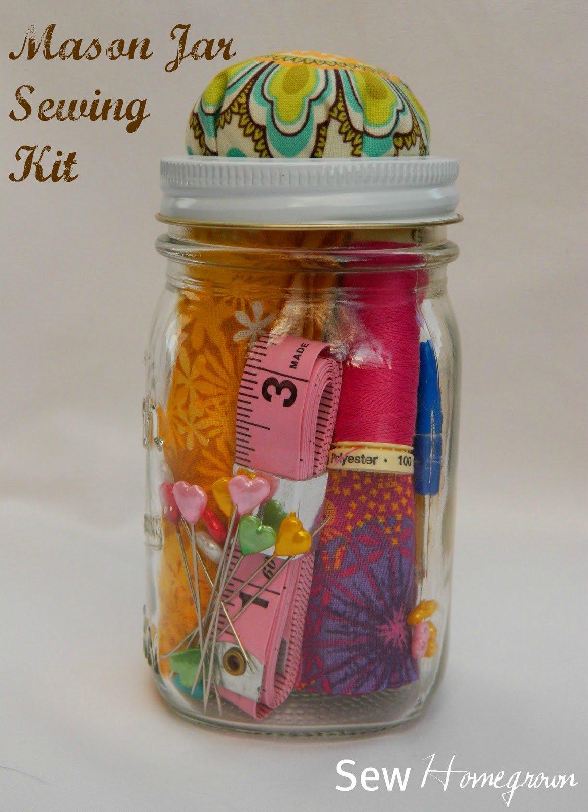 {DIY} Mason Jar Sewing Kit – the tween version