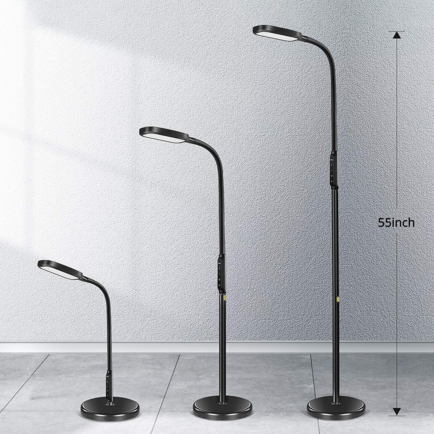 Miroco LED Floor Lamp with 5 Brightness Levels & 3 Color Temperatures