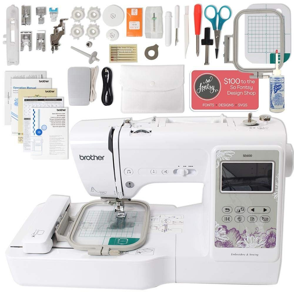 Brother SE600 Computerized Sewing and Embroidery Machine Bundle