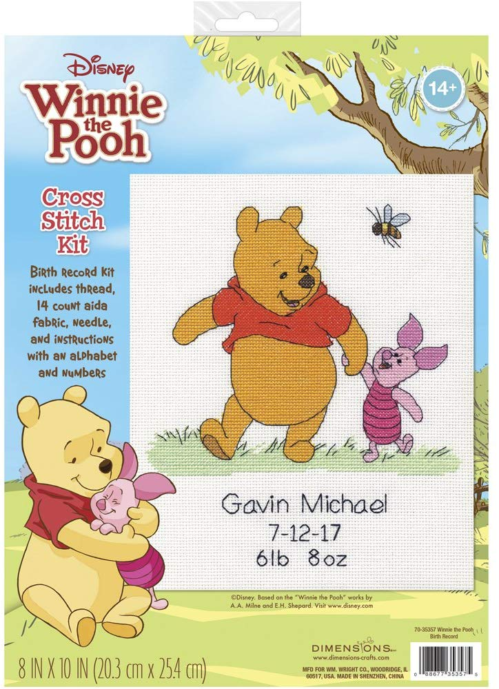 Dimensions Disney Winnie The Pooh Birth Record Counted Cross Stitch Kit