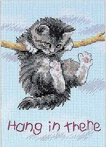 Hang in There Cat Counted Cross Stitch Kit
