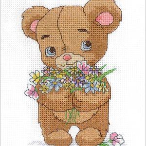 Janlynn Bear with Bouquet Cross Stitch Supplies
