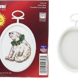 Janlynn 1143-46 18 Count Mini Counted Cross Stitch Oval Polar Bear