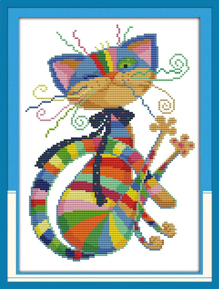 Maydear Cross Stitch Kits Stamped for Beginners DIY Colorful cat