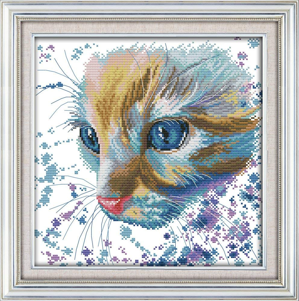 Maydear Cross Stitch Stamped Watercolor cat Kits