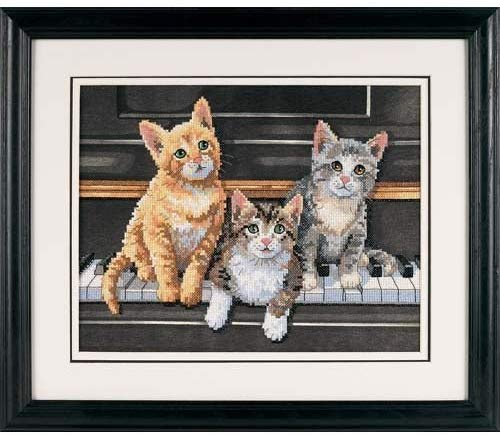 Meowsical Trio Stamped Cross Stitch Kit
