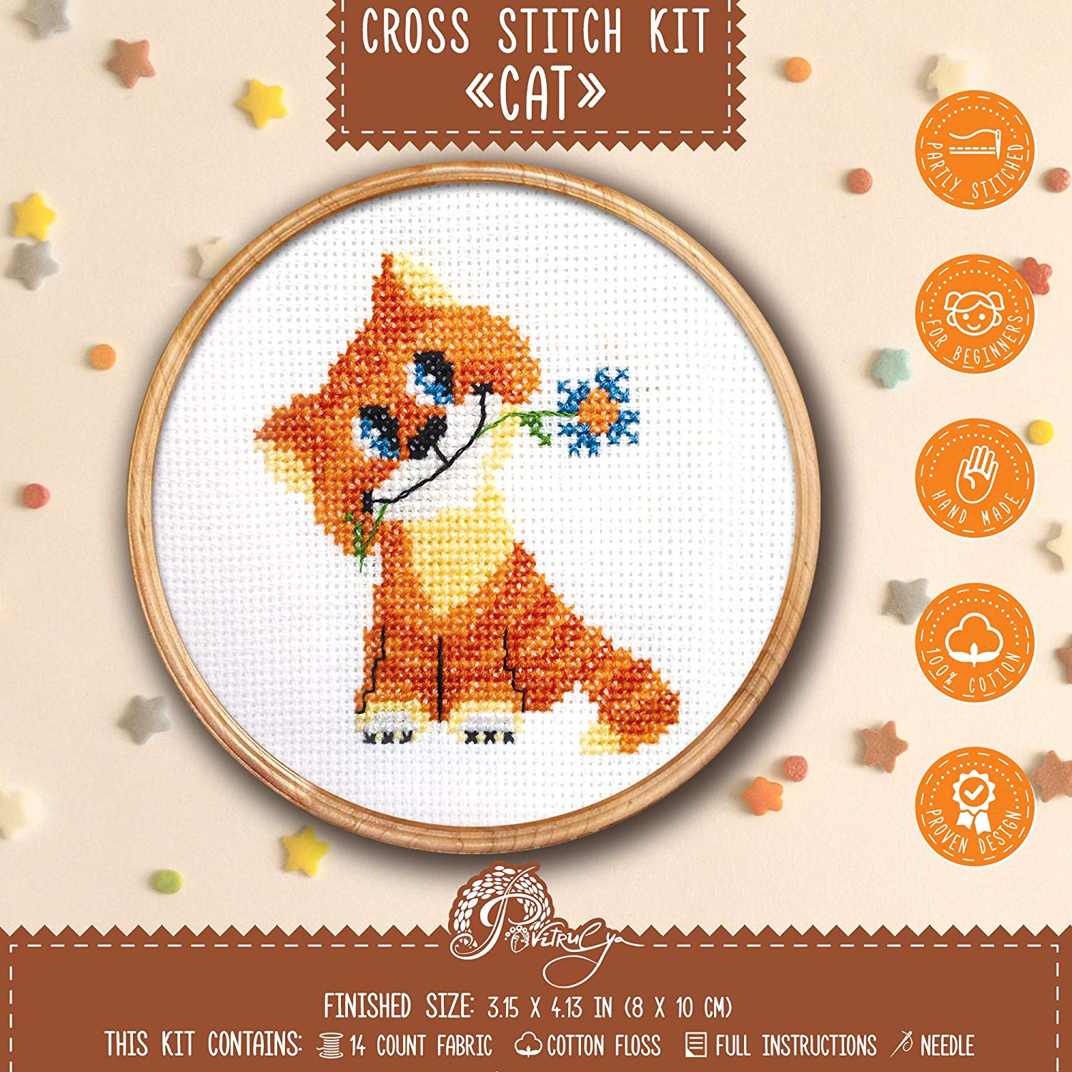 Povitrulya Cat Cross Stitch Kit for Beginners