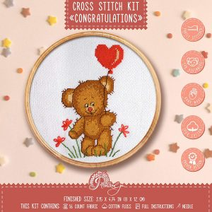 "Povitrulya Cross Stitch Kit for Baby Boy ""Congratulations!"" Teddy Bear Embroidery Set for Kids"