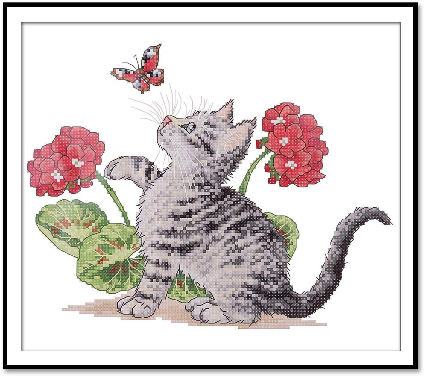 ITSTITCH Printed Cross Stitch Baby Cat Butterfly Kits