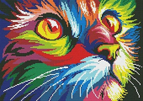 Sweethome Colorful Cat in Dark Counted Cross Stitch Kits