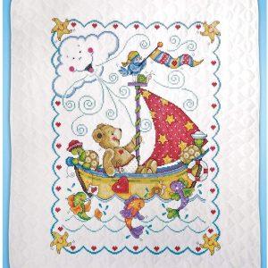 Tobin T21770 Sail Away Baby Quilt Stamped Cross Stitch Kit