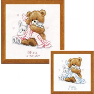 Vervaco Bear With Blanket On Aida Counted Cross Stitch Kit