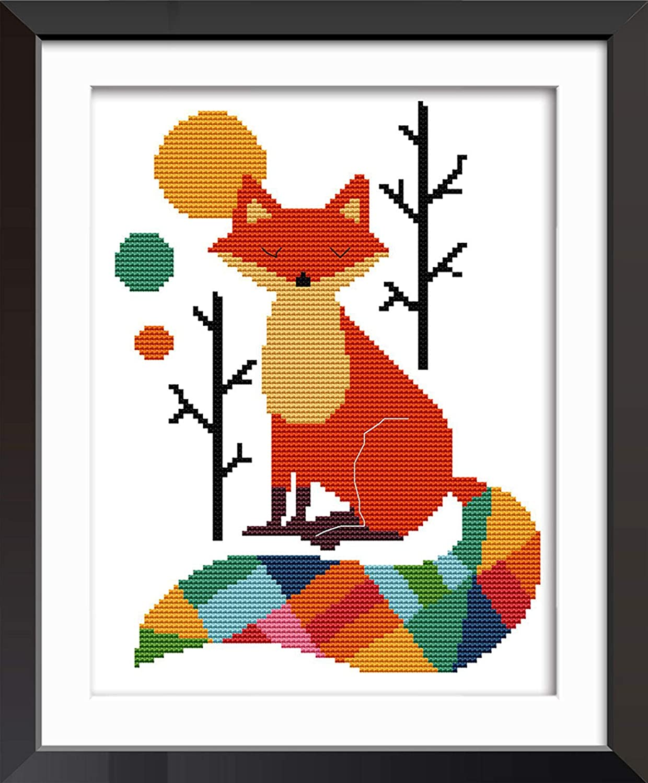 Joy Sunday Cross Stitch Kits 11CT Stamped Seven Color Fox