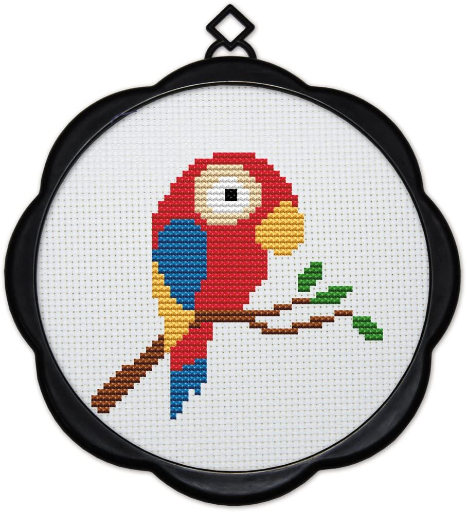 Maydear Full Range of Embroidery Starter Kits Stamped Cross Stitch Kits Beginners for DIY Embroidery (Multiple Pattern Designs) - A Little Parrot