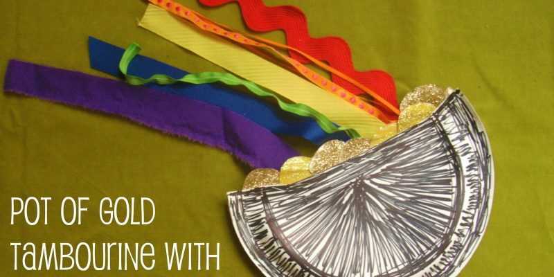 DIY Kid's Craft: Pot of Gold Tambourine with Rainbow Streamers